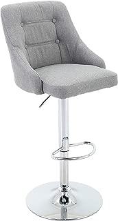 Brage Living Adjustable Height Tufted Upholstered Round Back Barstool with Footrest, Light Grey