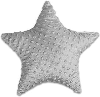 Dekorativ kudde för barnrum stjärna – plyschkudde för barn flickor pojkar dekorativ kudde diameter 40 cm ljusgrå