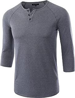 HETHCODE Men's Casual Raglan Fit Soft Baseball 3/4 Sleeve Henley T-Shirts Tee