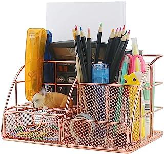 Ogrmar Rose Gold Desk Supplies Organizer, Multi-Functional Mesh Desk Organizer with 6 Compartments & Desk Drawer Organizer...