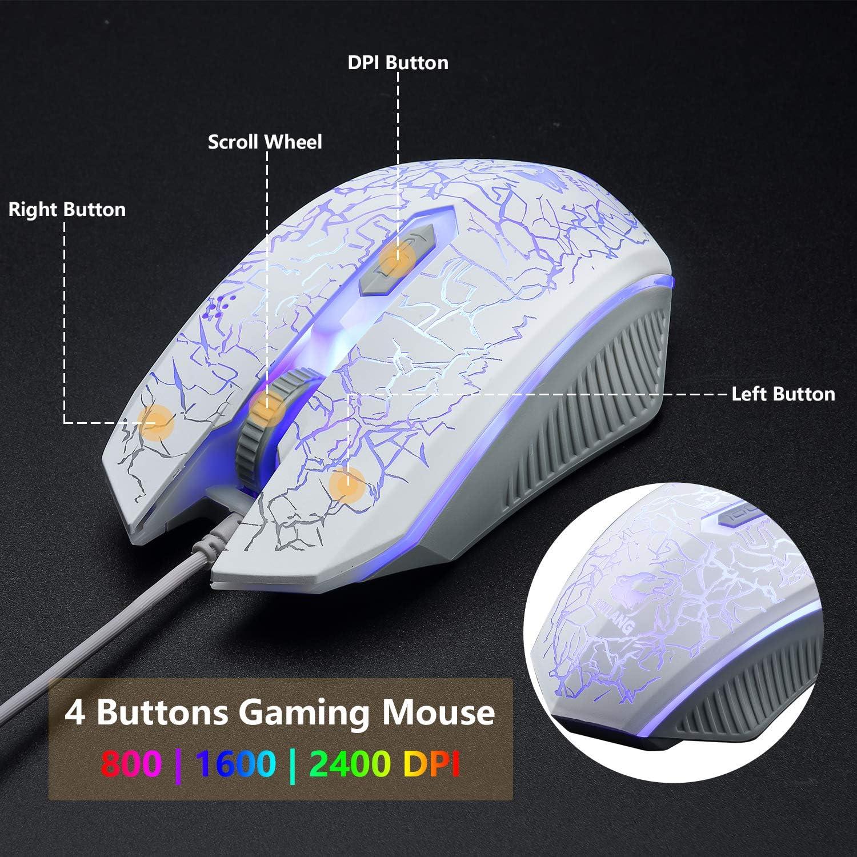 USB Blanco Retroiluminaci/ón del Arco Iris LED Teclado Teclado Cascos y Rat/ón Gaming Necesita Adaptador 4 Botones 2400 DPI Rat/ón y Alfombrilla de Rat/ón para PS4 XBox Auriculares RGB de 7.1 Canales