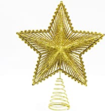 JEFEE Gold Glittered 5-Pointed Star Christmas Treetop, Christmas Decorations for 5-8ft Christmas Tree
