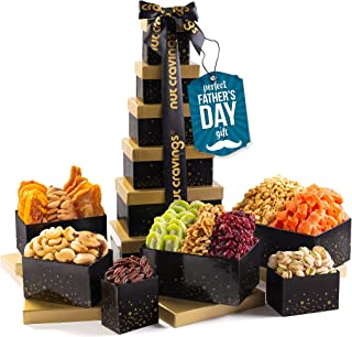 Fathers Day Dried Fruit & Nut Gift Basket, Black Tower + Ribbon (12 Piece Assortment) - Prime Arrangement Platter, Birthda...