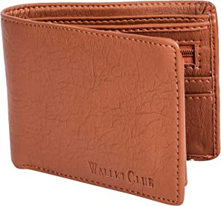 Wallet Club Leather Tan Men's Bi Fold Leather Wallet with Card Holder and Coin Pocket (Tan)