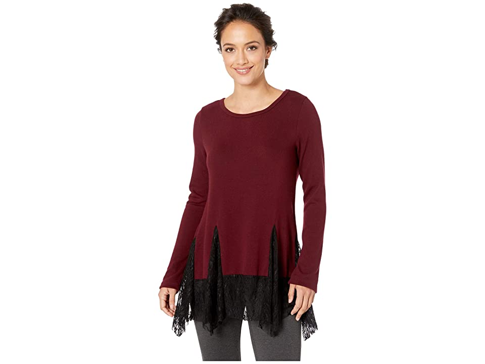Karen Kane Lace Inset Sweater (Wine) Women