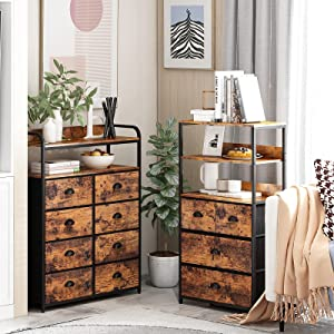Furologee 8 Drawer Dresser and 4 Drawer Dresser with Shelf, Clothes Storage Large Space,Rustic Home Furniture for Bedroom,Entryway,Office