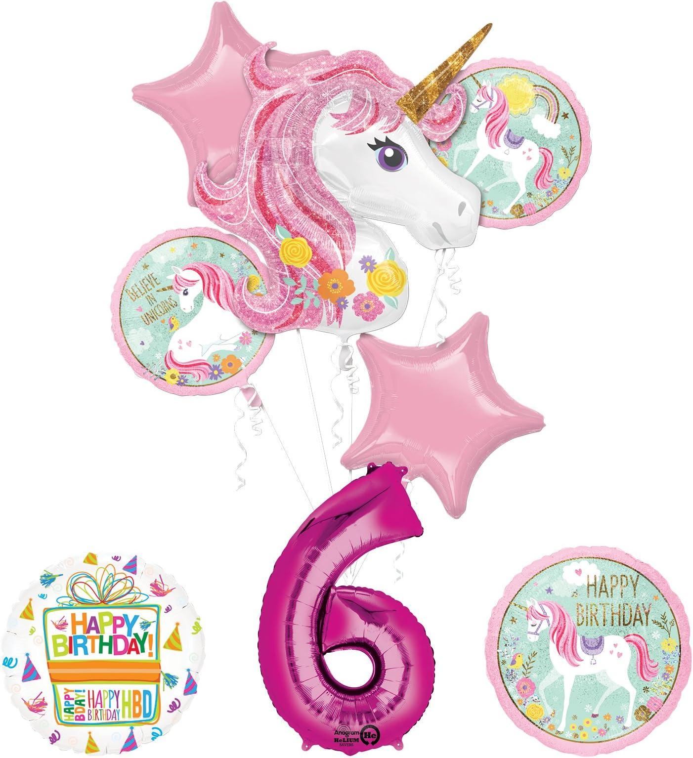 unicorn Birthday balloons green balloons party balloons 6 unicorn party Balloons