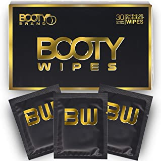 BOOTY WIPES for Men - Flushable Wet Wipes for Adults Unscented, Individually Wrapped Travel Wipes, Disposable Man Wipes wi...