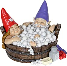 Exhart Solar Good Times Bubble Bath Garden Gnomes - Funny Gnome Couple in Bathtub w/Solar-Powered LED Lights - Bath Time Resin Gnomes Statue, Boy & Girl Gnome Garden Statue, 8.7