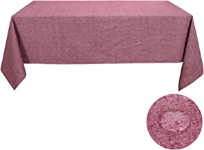 Deconovo Linen Recycled Cotton Tablecloth Decorative Waterproof Wrinkle Resistant Cloth for Rectangle Table, 60x126 Inch, Red Violet