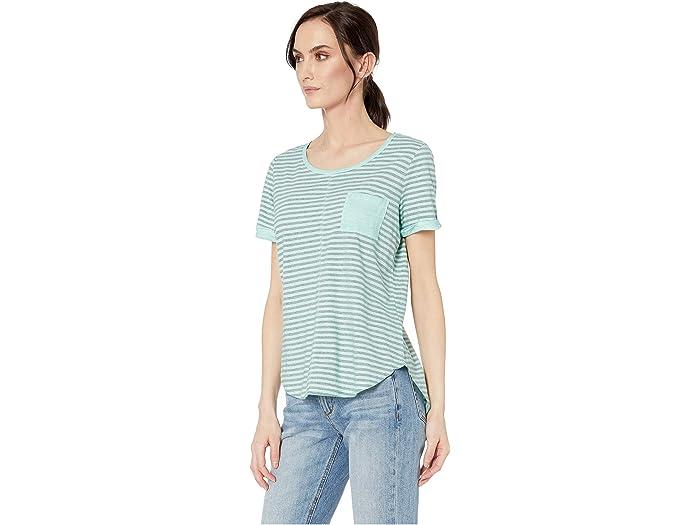 Tribal Yarn-dye Stripe Short Sleeve Top W/ Pocket - Women Clothing