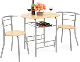 Best Choice Products 3-Piece Wooden Kitchen Dining Room Round Table and Chairs Set w/Built in Wine Rack - Natural