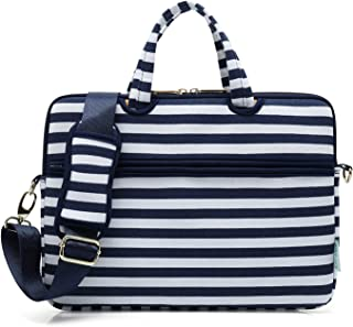 Kayond Laptop Carrying Case Water-Resistant Canvas Totes/Lightweight Slim Shoulder Messenger Bag for Daily Work/School(15-15.6, Breton Stripe)