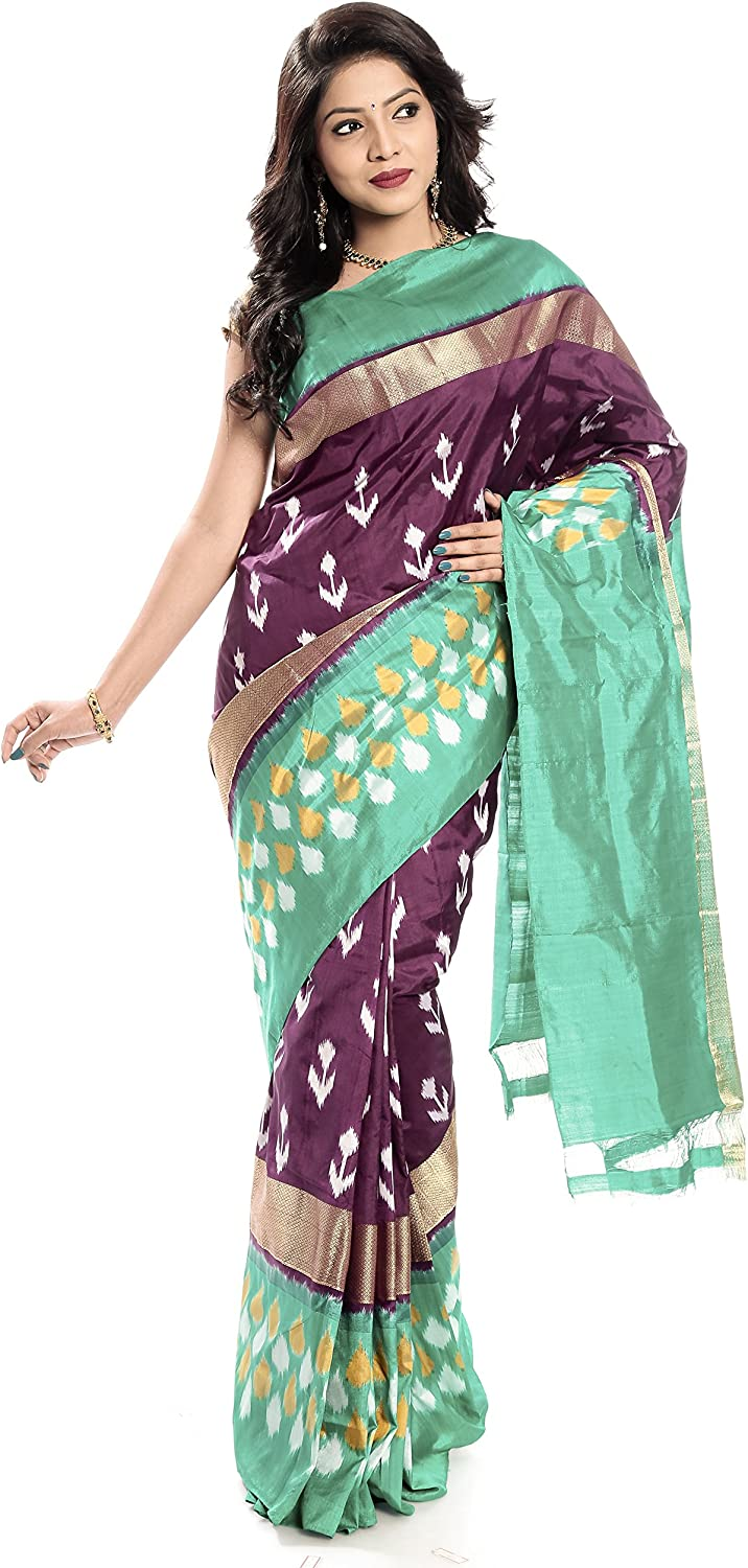 Mandakini — Indian Women's Handloom  Ikat Pure Silk Saree (MaroonGreen) (MK361)