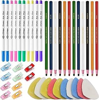 Qovydx 42Pcs Sewing Markers for Fabric, 10Pcs Tailor Chalk for Fabric, 12Pcs Sewing Fabric Pencils Tailor Pencil for Fabri...