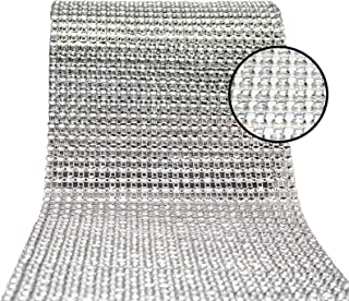 Best Bling Rhinestone Diamond Ribbon, AkoaDa Silver Bling Diamond Wrap Ribbon for Event Decorations, Wedding Cake, Bridal & Party Decorations Acrylic Bling Rhinestone Roll (Silver, 30 Ft) Review