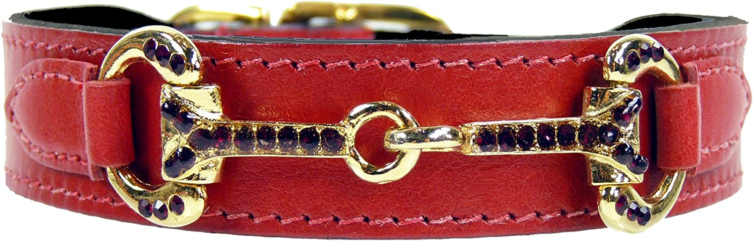 Hartman & pink Horse and Hound Collection Dog Collar, Ferrari Red, 1820Inch