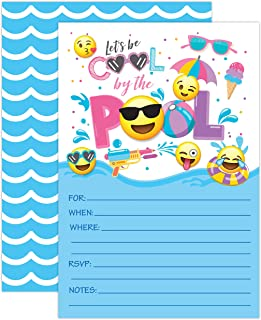 Girl Emoji Pool Party Birthday Invitations, Summer Pool Party Bash, Splash Pad, Water Park Invites, 20 Fill In Pool Party Invitations With Envelopes