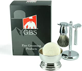 Shaving Gift Set Comes In Gift Box -Classic Safety Razor, Shave Bowl, GBS Shaving Soap,Finest Pure Badger Brush, Brush/Razor Stand Included-Great Gift For Shaving Enthusiasts!