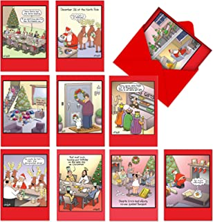 Traces of Nuts - 10 Funny Christmas Cards with Envelopes - Assorted Boxed Greeting Cards - Humorous Bulk Assortment of Happy Holiday and Merry Xmas Cards - Cartoon Stationery A1250