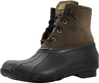 حذاء Sperry نسائي Saltwater مصنوع من قماش مخملي مضلع، زيتوني، مقاس 10 M