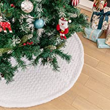 DegGod White Plush Christmas Tree Skirts, 48 inches Luxury Faux Fur Xmas Tree Base Cover Mat with Heart Pattern for Xmas N...