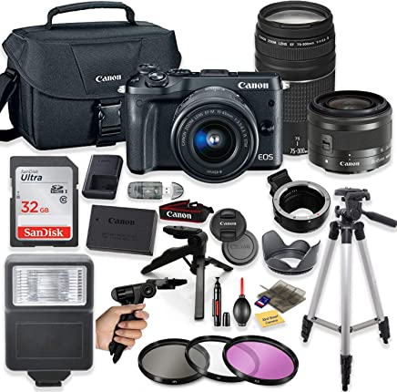 $799 Get Canon EOS M6 Mirrorless Digital Camera (Black) with EF-M 15-45mm Lens & EF 75-300mm Lens + Pro Lens Mount Auto Adapter - EOS (EF/EF-S to EF-M Mount) + Deluxe Accessory Bundle