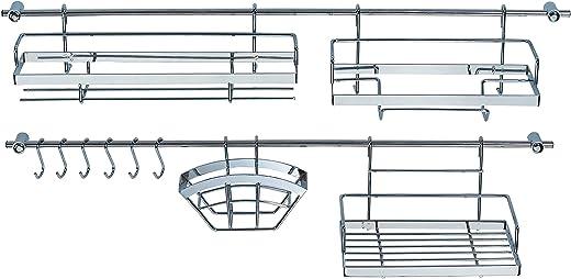 Ribelli Küchen Organizer 16-teilig – 2 Hakenleiste (je 78 cm) mit 4 Halterungen + 6 Haken – mit 2 Gewürzregalen + Hängekorb uvm. aus verchromten…