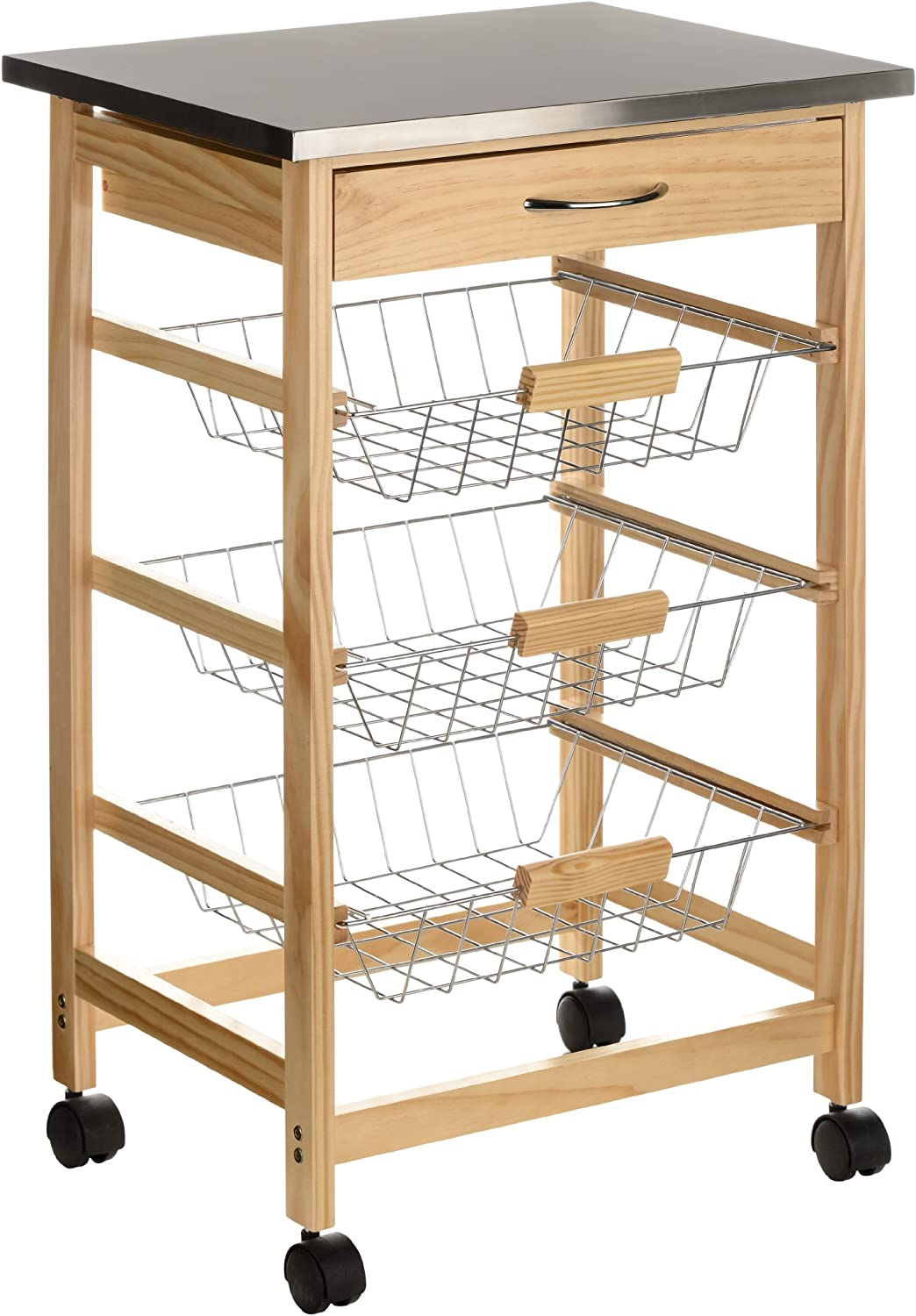 Premier Housewares Pinewood Kitchen Trolley with Stainless Steel Top by Premier Housewares