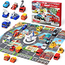 UYGA Car Advent Calendar 2020 Christmas Stocking Stuffer Toy for Kids, with 24 Different Pull Back Vehicles Including Kart...