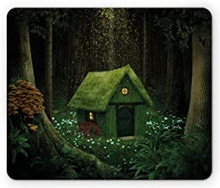 Ambesonne Fantasy Mouse Pad, Surreal Little Forest House in Moss Enchanted Woodland Elves Design, Rectangle Non-Slip Rubber Mousepad, Standard Size, Hunter Green