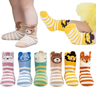 6 Pairs Toddler Socks, Non Skid Cotton Socks for Baby Boys & Girls (Cartoon Animal Rabbit Elephant Hippo Bear Lion Fox)