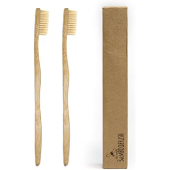 Beeclean Bamboobrush Set of 2 Ecological Hand Toothbrush for Adults. Made from sustainable bamboo wood with Medium Soft Natural Bristles in Biodegradable Packaging. Vegan Friendly 0% Plastic and PBA