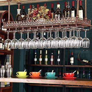 FURVOKIA Industrial Vintage Metal Bar Wine Glass Hanging Rack,Retro Upside Down Stemware Goblet Wine Glass Holder,Tableware Bottle Floating Shelf for Home Kitchen(Red Copper, 47.2''L)