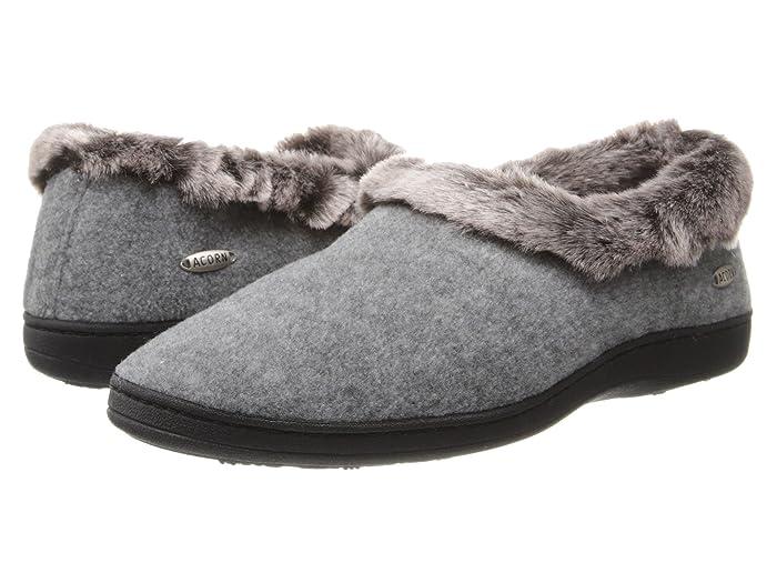 Acorn  Faux Chinchilla Collar (Stone) Womens Slippers