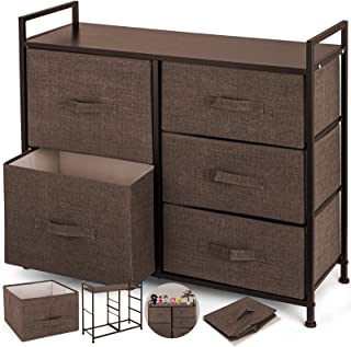 Happybuy Dresser Storage Tower with 5 Fabric Drawer Steel Frame Storage Cabinet Bin Storage Organizer Unit Fabric Cube Dresser Chest Cabinet Coffee Tall (Coffee/Tall)