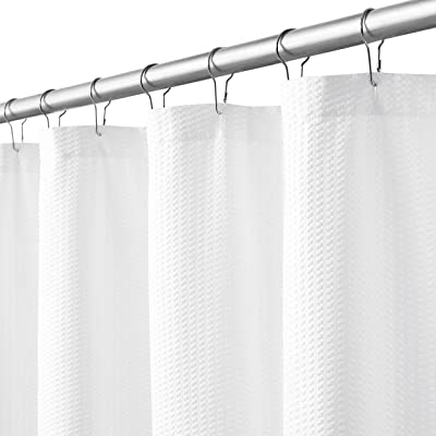 WEST Lake White Shower Curtain Embossed Dots Button-Holes Hotel Bathroom Decor Fabric Waterproof Shower Curtain Spa Water Resistant Machine Washable for Bathroom Bathtubs,70x72 inch, White