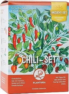Plantura Chili-Anzuchtset, 5 Chili-Sorten, komplettes Set mit Mini-Gewächshaus, Geschenkidee