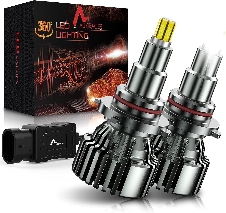 AUXIRACER Bombillas LED HB3 9005 para Coche, 360 °CSP 60W 6000K 16000LM IP65 - Kit de Lámpara de Repuesto para Lámparas Halógenas y Luces de Xenón, 2 bombillas