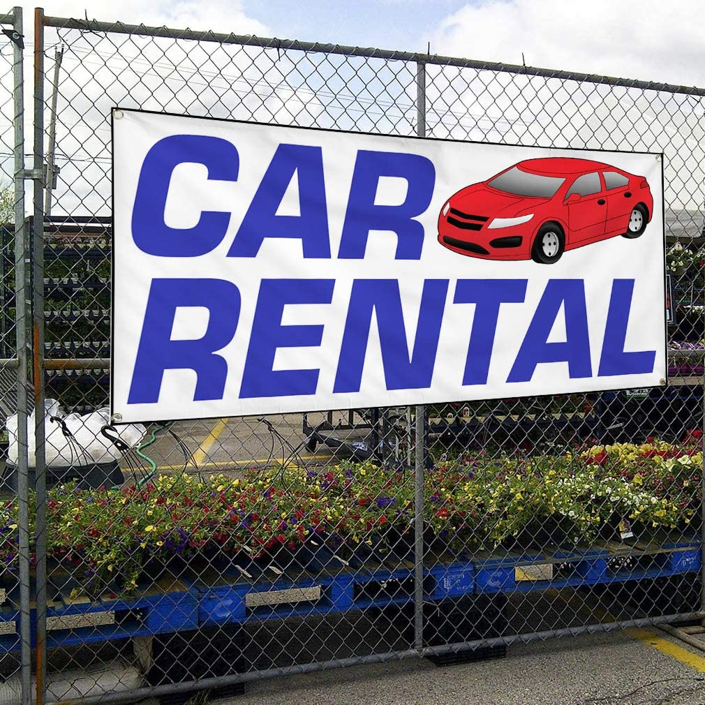 Vinyl Banner Multiple Sizes Car Rental Auto Vehicle B Business Outdoor Weatherproof Industrial Yard Signs White 8 Grommets 48x96Inches