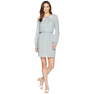 TWO by Vince Camuto Long Sleeve Melange Gauze Cinch Waist Peasant Dress (Indigo Night Heather) Women