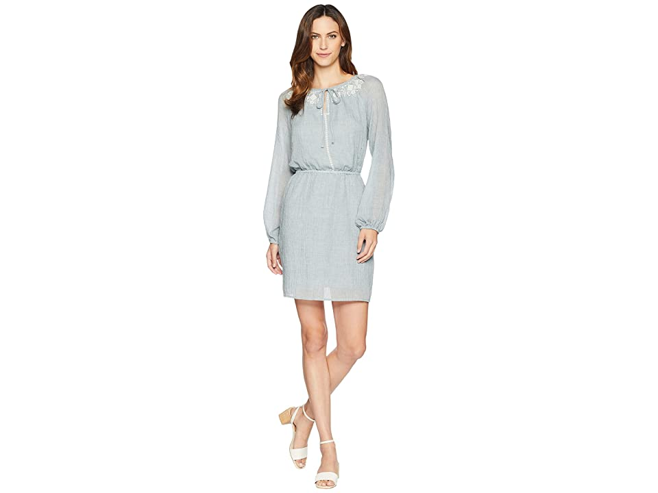 TWO by Vince Camuto Long Sleeve Melange Gauze Cinch Waist Peasant Dress (Indigo Night Heather) Women