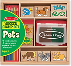 Melissa & Doug Wooden Stamp Set: Pets - 9 Stamps, 5 Colored Pencils, and 2-Color Stamp Pad