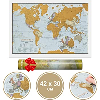 Scratch The World® Travel Edition map Print - with Gift Tube - a3 Travel Sized 42.0 (w) x 29.7 (h) cm