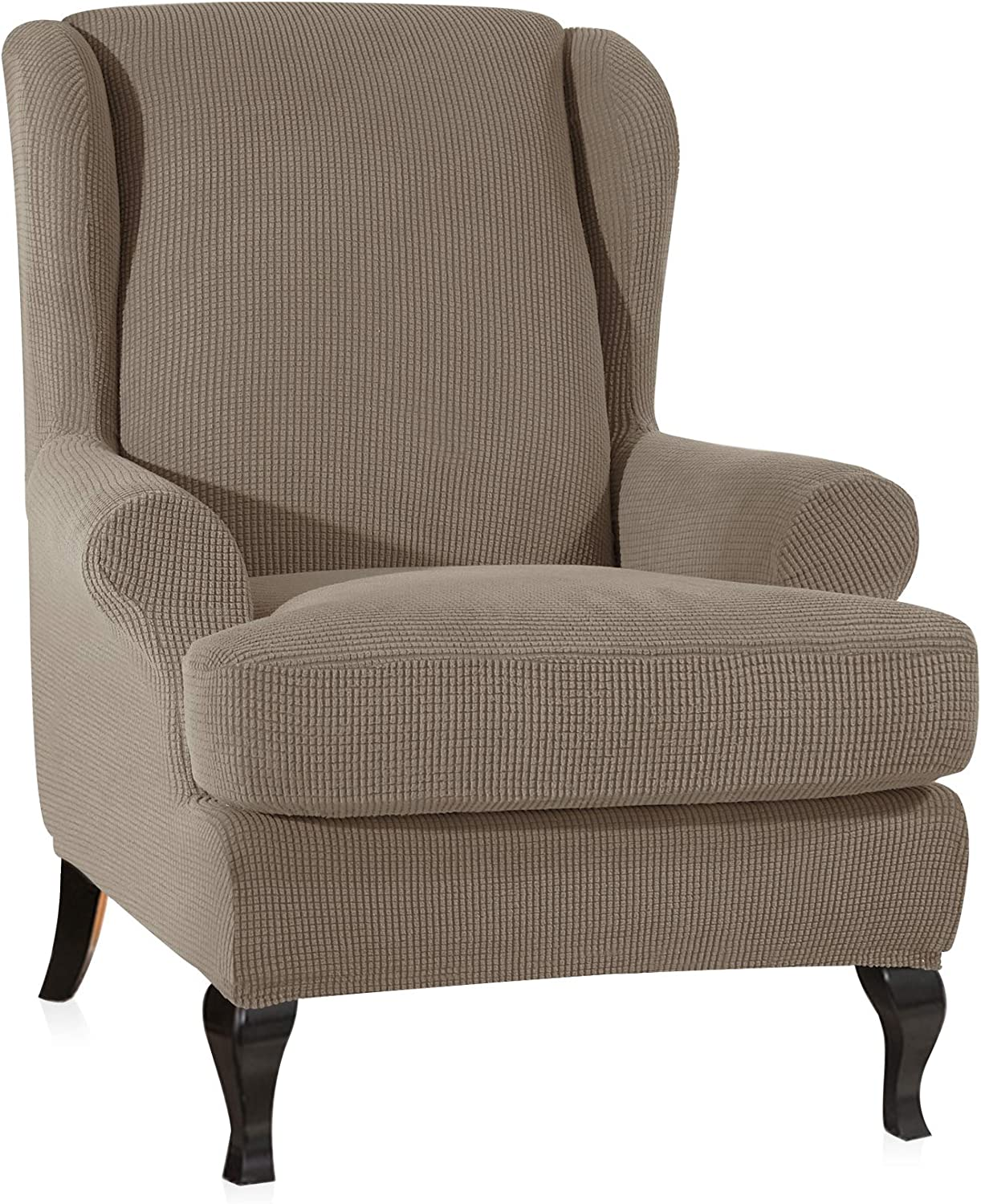 CHUN YI 2-Piece Stretch Jacquard Spandex Fabric Wing Back Wingback Armchair Chair Slipcovers (Sand, Wing Chair)