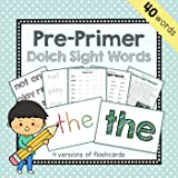 Pre-Primer Dolch Sight Words Flashcards, Spelling, and Worksheets