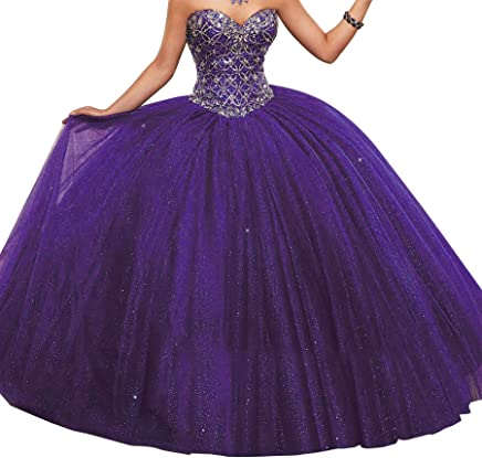 9485d13722 HuaMao Women s Beaded Sequins Lady Prom Dance Sweet 16 Quinceanera Dresses