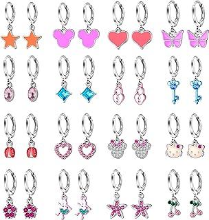 Aganippe 16/24 Pairs Hypoallergenic Small Dangle Hoop Earrings for Girls Cute Huggie Hoop Earrings with Charm Hoop Earring...