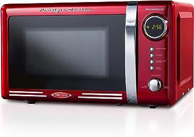 Nostalgia RMO7RR Retro 0.7 cu ft 700-Watt Countertop Microwave Oven, 12 Pre Programmed Cooking Settings, Digital Clock, Easy