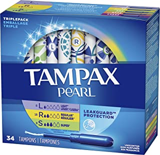 Tampax Pearl Tampons, Light/Regular/Super Absorbency with LeakGuard Braid, Triple Pack, Unscented, 34 Count